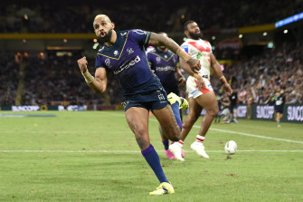 Josh Addo-Carr in action for Melbourne Storm.