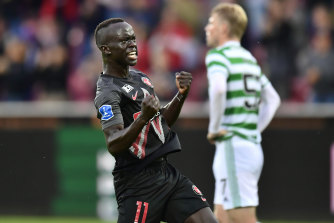 Australia's Awer Mabil celebrates his 61st-minute goal for Midtjylland against Celtic.