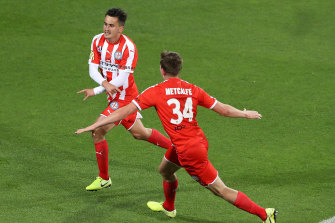 Melbourne City's Adrian Luna (left) celebrates with teammate Connor Metcalfe.