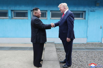"Kim Jong-un and Donald Trump have met three times since June 2018. Trump has said the two ""fell in love""."
