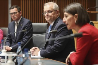 Premiers Daniel Andrews and Gladys Berejiklian with Prime Minister Scott Morrison at a national cabinet meeting last year.