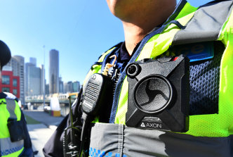 A body-worn camera on a police officer.