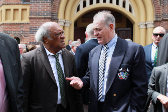 Qele Latu (left) David Campese (right) were among rugby greats on hand at Jeff Sayle's funeral.