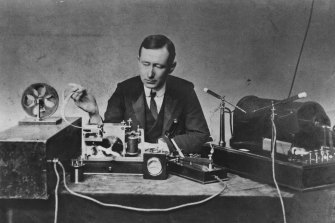 Italian physicist and inventor Guglielmo Marconi at work in his laboratory.