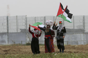 Protesters at the Gaza border earlier this year, where three people were killed on Saturday night.