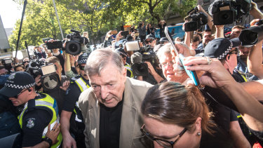 Cardinal George Pell arriving for a pre-sentencing hearing at the County Court after being found guilty of historic sexual offences.
