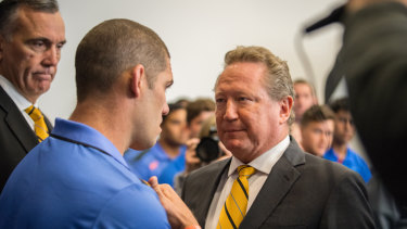 Delayed but not forgotten: Matt Hodgson, pictured with Andrew Forrest, says Global Rapid Rugby will debut in 2020.