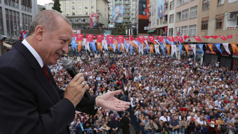 Turkey's President Recep Tayyip Erdogan and the crowds.