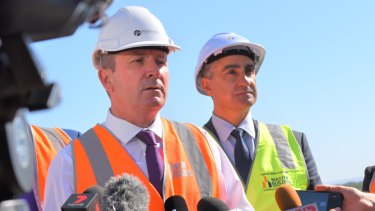 Premier Mark McGowan and Master Builders executive director John Gelavis at the infrastructure WA announcement.