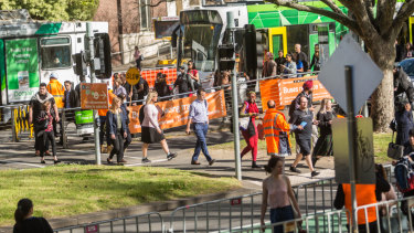 Buses are replacing trams on one of Melbourne's busiest corridors for the next two weeks.