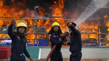Narcotics worth more than $200 million are ceremonially set alight in Yangon, Myanmar, as seen in this file picture.