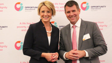 Former NSW premiers Kristina Keneally and Mike Baird shared the stage at an Opportunity International event.
