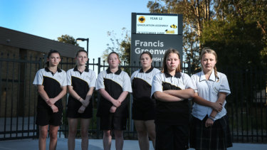Francis Greenway High students Melissa Duffield, Ashlie Duffield, Jemma Cheetham, Ashley Robson, Nicola Walk and Sufiya Walk  want the principal to apologise to all students and staff for her comments.