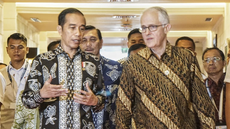 Indonesian President Joko Widodo with former Australian PM Malcolm Turnbull.