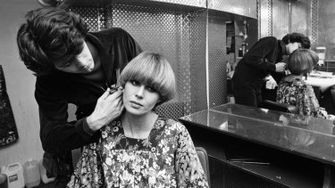"Perfecting ""the Purdey"" hairdo with its creator, John Frieda."