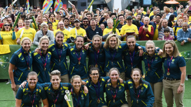 The Australian team at Federation Square after their recent World T20 triumph.