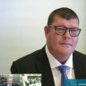 James Packer giving evidence to the inquiry earlier this month.