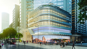 A render of Cartier's new flagship store in Sydney with artwork by Paul Milinski.