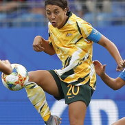 """""""Suck on that one"""" ... Sam Kerr in the victory against Brazil."""