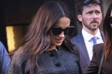 Meghan, Duchess of Sussex, arrives for her baby shower at the Mark Hotel on Tuesday, February 19, 2019, in New York.