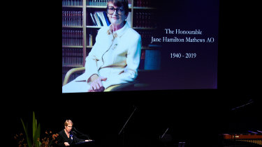 'She changed the educational opportunities for a generation of girls': Governor of NSW Margaret Beazley at the memorial service for Jane Mathews at the Sydney Opera House.