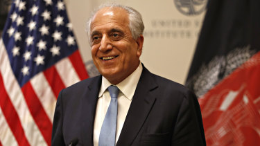 The Special Representative for Afghanistan Reconciliation Zalmay Khalilzad pictured on Friday at the US Institute of Peace, in Washington.