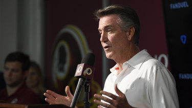 Team president Bruce Allen addresses the media following Gruden's sacking.