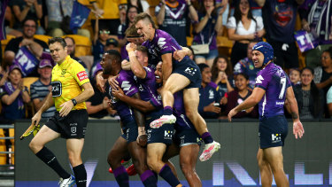 The Storm piled on 24 points in as many minutes to blow Canberra away.