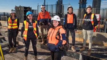 Female construction workers (from left) Libby Dadic, Demi Lebessis , Shelly Goodwin, Cody Taylor, Kelly Ngu and Teena Simpson.