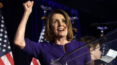 House Minority Leader Nancy Pelosi, a Democrat from California, reacts after voting results during a House Democratic election night event.