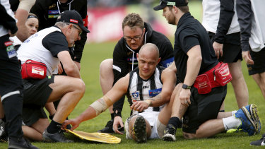 Alex Woodward reinjured his knee while playing in the VFL.