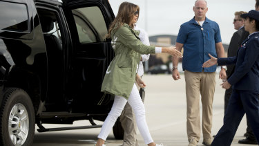 First lady Melania Trump boards a plane to Texas on Thursday.