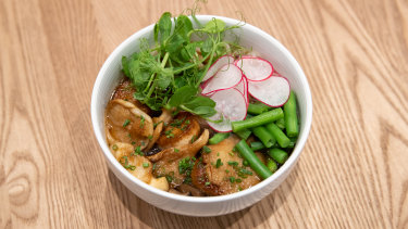 The mushroom udon is topped with  king brown mushrooms that are  fried like scallops.