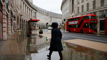 Regent Street in central London after the capital entered its third lockdown since the start of the pandemic.