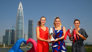 WTA players Kristina Mladenovic (far left) and Timea Babos, with Australia's Ashleigh Barty in China.