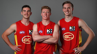 Gold Coast stocked up on top-end talent with (L-R) Sam Flanders, Matthew Rowell and Noah Anderson.