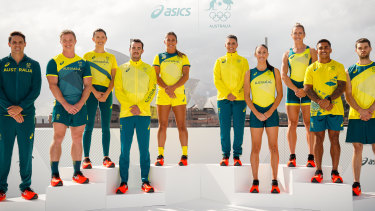 Australian athletes pose during the Olympic uniform unveiling at the Overseas Passenger Terminal.