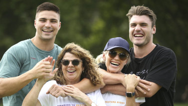 Jack Maddocks (left) and Angus Crichton (right) will be supporting their mothers Bronwyn and Pip who are competing in the Sydney Coastrek on March 15.
