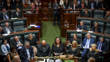 Treaty Advancement Commissioner Jill Gallagher addresses State Parliament in March.