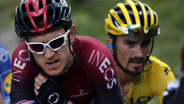 Contenders: Britain's Geraint Thomas and France's Julian Alaphilippe climb the Vars pass.