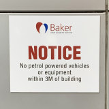 A sign at the Baker Institute.