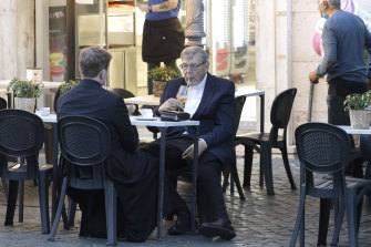 Cardinal Pell in Rome on Sunday.