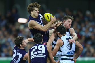 Nathan Fyfe of the Dockers takes a mark.