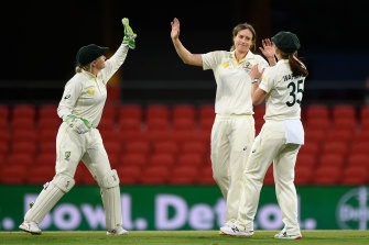 Ellyse Perry after snaring the wicket of Yastika Bhatia.