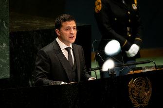 Ukrainian President Volodymyr Zelensky addresses the UN in September.