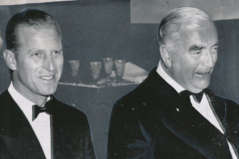 Prince Philip at dinner with then-prime minister Robert Menzies.The duke was in Melbourne to open the Olympic Games in 1956.
