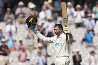 Devon Conway celebrates his 200 on day two of the first Test.