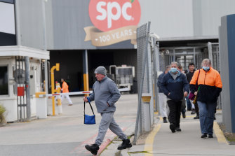 Employees changing shift at SPC Ardmona plant in Shepparton today.