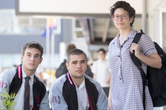 Glen Eira College students Lachy Priest, Henry de Bono and Taylor Lowery.