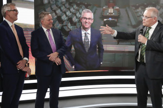 Opposition Leader Anthony Albanese, second from left, and Prime Minister Scott Morrison, right, pay tribute to Speers during his farewell from Sky News.